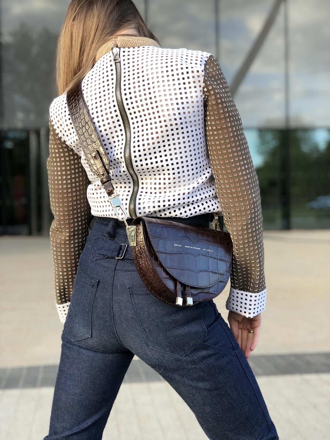 flared acne jeans, jw anderson top, saddle bag zofia chylak by Fashion Art Media